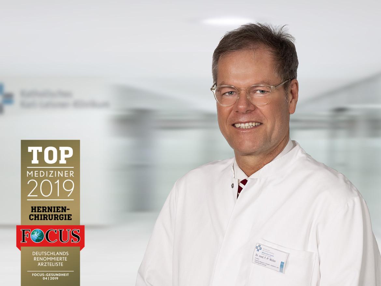 """Chefarzt Dr. Frank P. Müller und das Sieger """"Top Mediziner 2019"""" des Magazins Focus Gesundheit."""