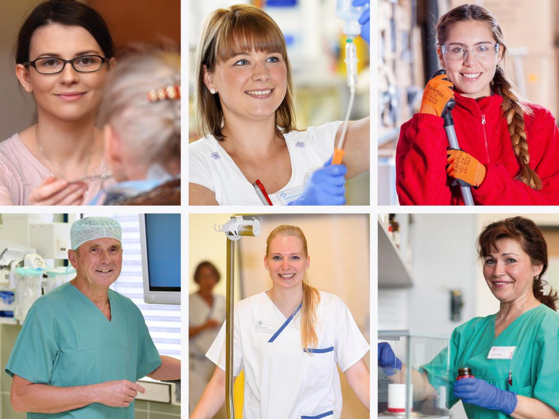 Mitarbeiter der Katholischen Karl-Leisner-Trägergesellschaft aus allen Unternehmensbereichen bei den unterschiedlichsten Tätigkeiten.