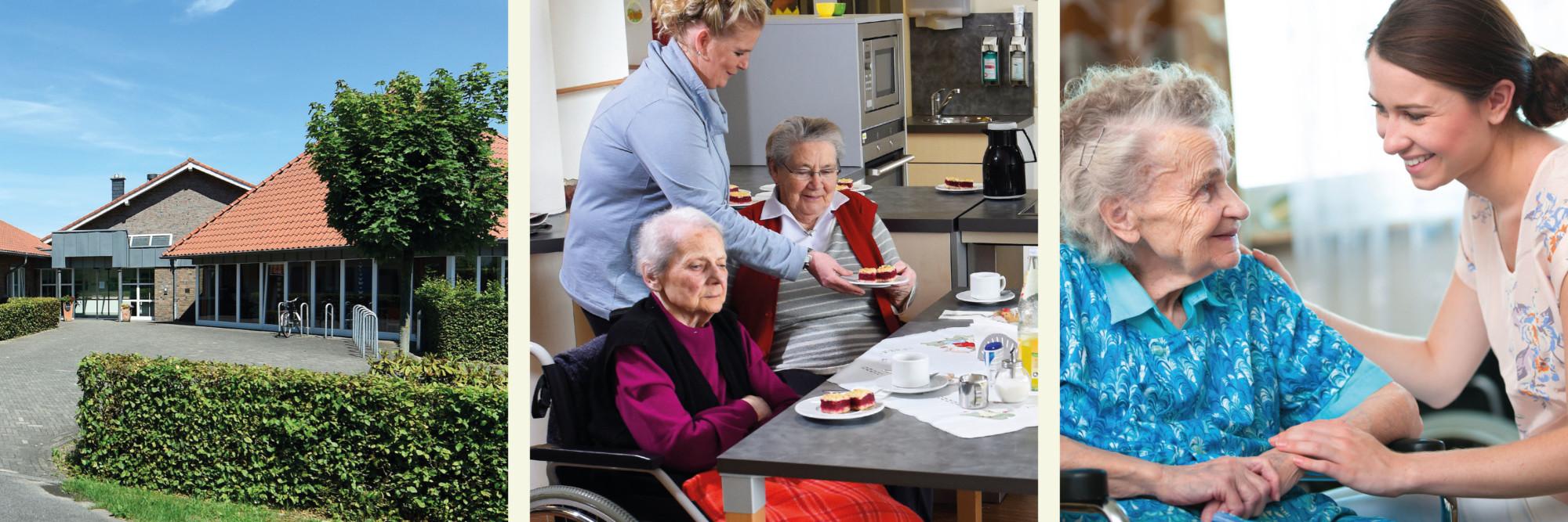 Diverse Eindrücke aus dem Leben und Arbeiten in der Altenpflege. Mitarbeiter und Bewohner im harmonischen Miteinander.