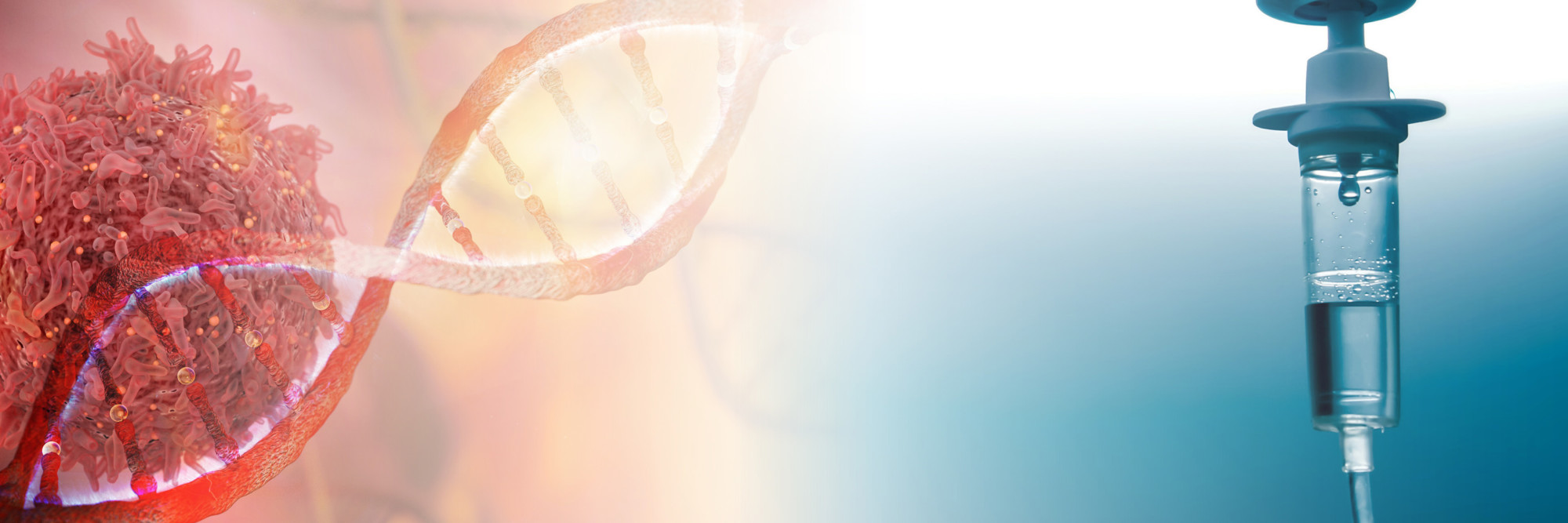 Stilisierte Darstellung einer Krebszelle und einer Chemotherapie.