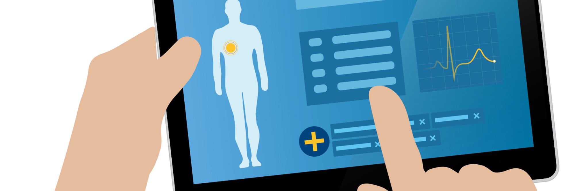 Schematische Darstellung eines Tablets, auf dem Patientendaten angezeigt werden.