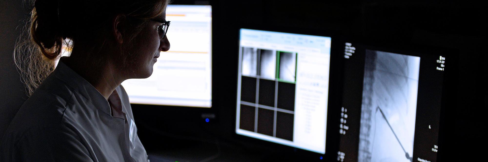 Teunette van der Graaf, Oberärztin der Klinik für Urologie, kontrolliert Befunde an einem Monitor.