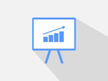 Stilisierte Datengrafik: Es geht aufwärts.