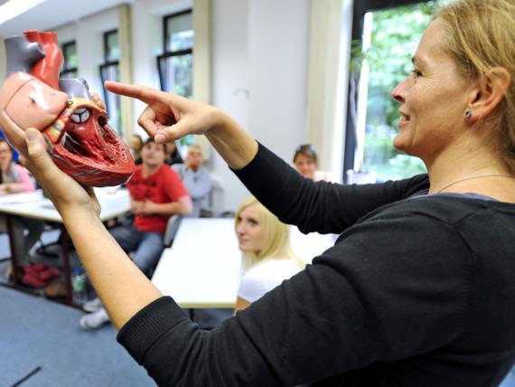 Eine Dozentin des Fachseminars für Altenpflege zeigt vor der Klasse auf das Modell eines menschlichen Herzens.